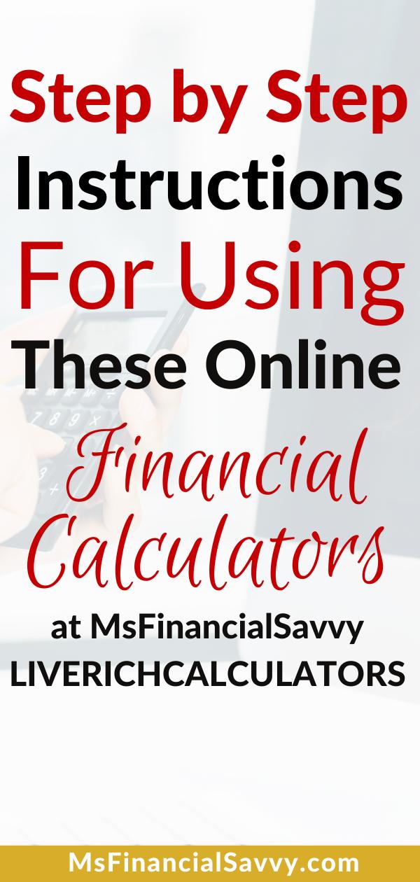 Guide to Msfinancialsavvy Online Financial Calculators